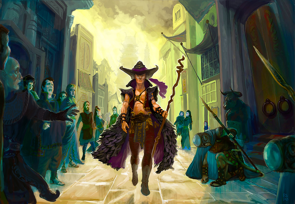 Sorcerer and Fearful Crowd
