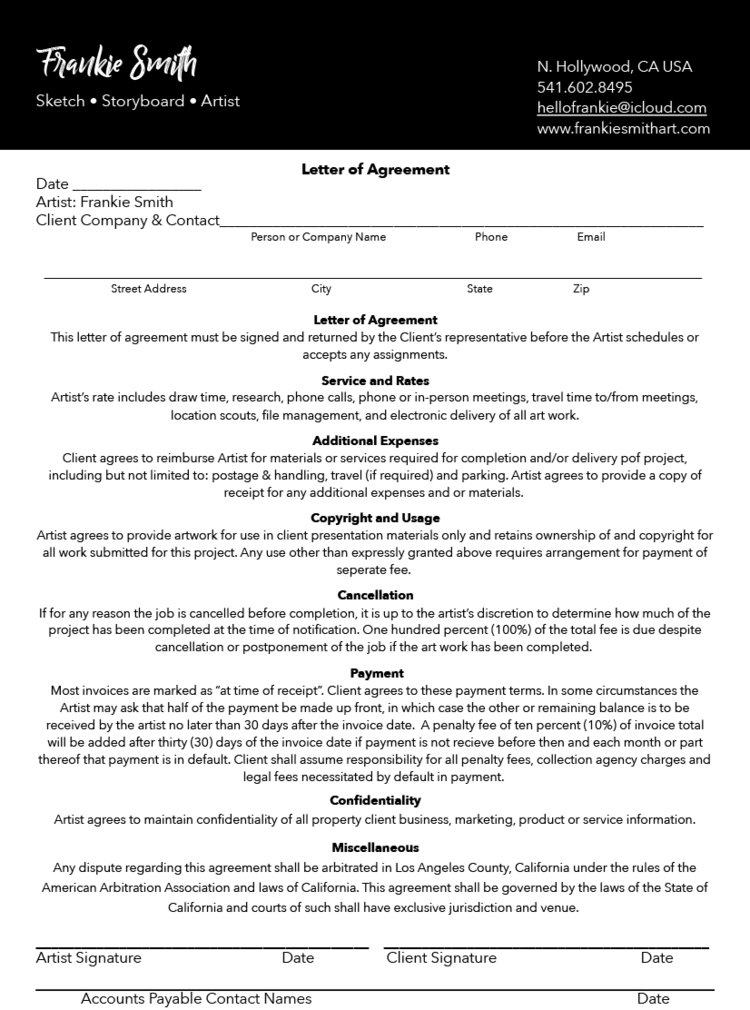 Letter Of Agreement Frankie Smith