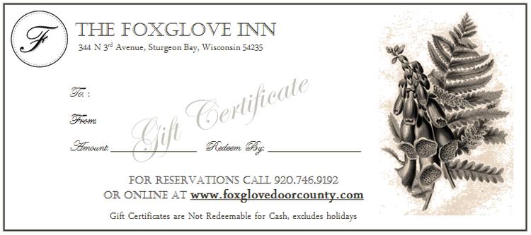 Gift Certificates — The Foxglove Inn