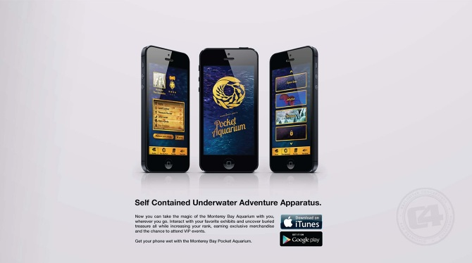 """Detail: Profile Screen, Splash Screen, Live Cam Selection Screen.  Copy: """"Now you can take the magic of the Monterey Bay Aquarium with you, wherever you go. Interact with your favorite exhibits and uncover buried treasure all while increasing your rank, earning exclusive merchandise and the chance to attend VIP events. Get your phone wet with the Monterey Bay Pocket Aquarium."""""""