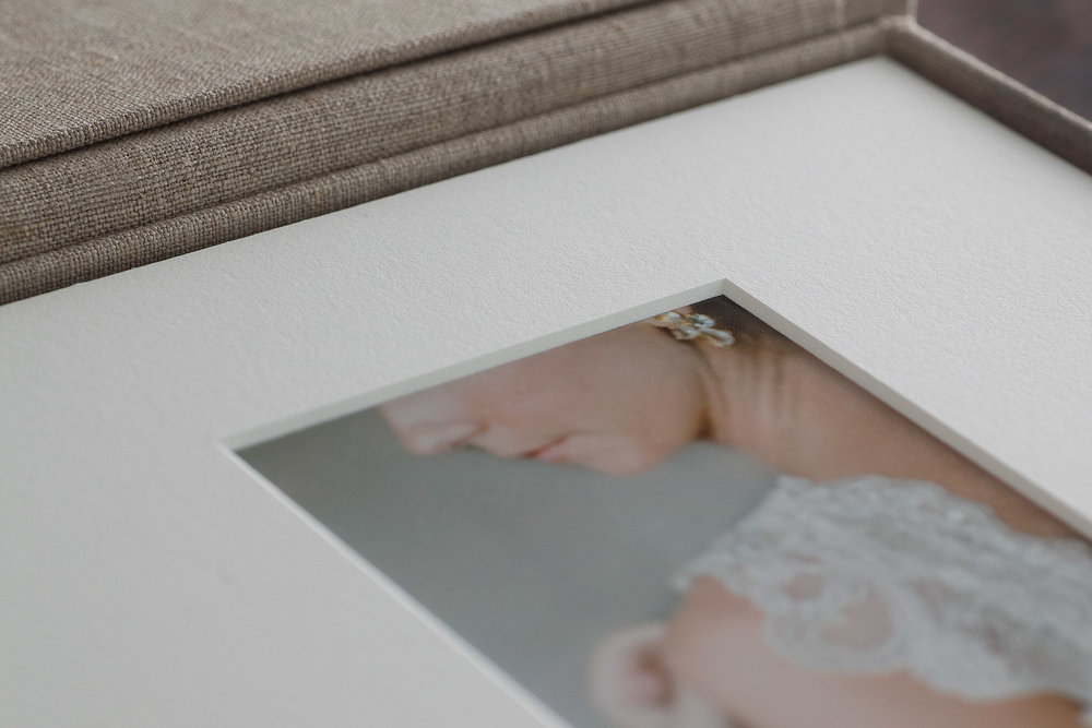 The Heirloom Matted Print Box are great for parent and grandparent gifts, and also for people who do not have a lot of open wall space in their home (album are great for all those reasons too!)