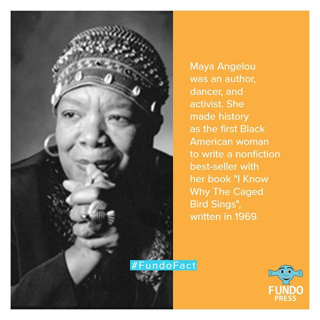 "Hey, FundoFam, did you know Maya Angelou became the first Black American woman to write a nonfiction best-seller? She did it with her autobiography book ""I Know Why The Caged Bird Sings"", written in 1969.  #MayaAngelou #FundoABC #WorldOfFundo #Reading #Learning #kidsbooks #BlackAuthor #ArtEducation #Literacy #Family #FundoFacts #positivity #familylearning #parents"
