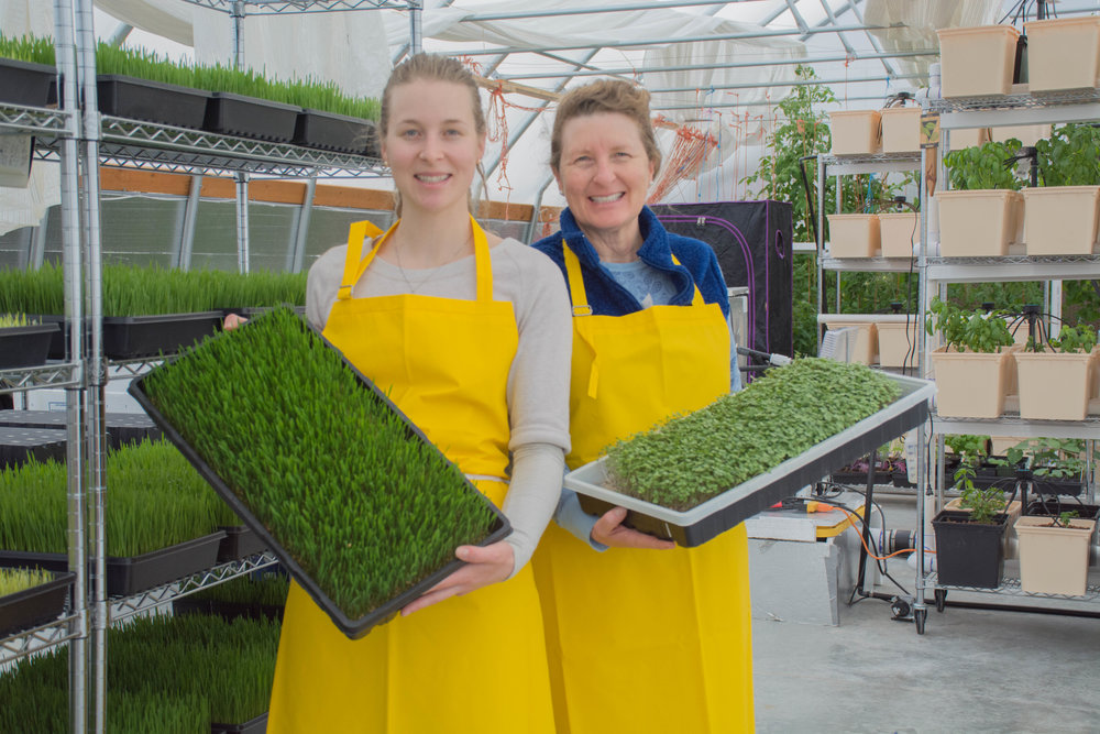 Erin and Stephanie with wheatgrass