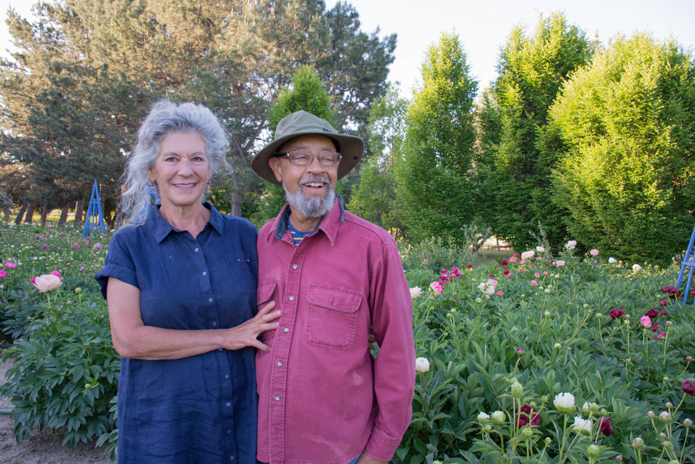Anju and Albert in the peony patch