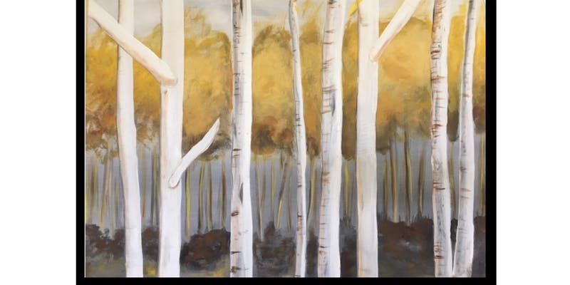 "LePaint : Dip, dap, drink ""Autumn Birch Trees""    Join us for a fun evening creating your own piece of art!   Take the Class!"