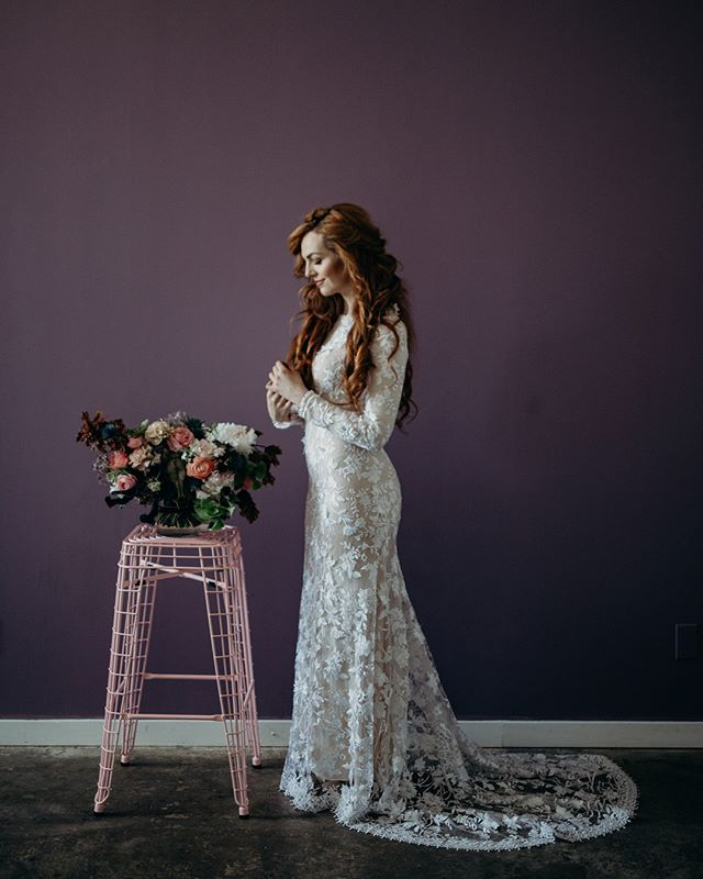 Check out these beautiful bridals shoot in Studio B by the very talented @xanseye • • • • Photographer: @xanseye  Florals: @connernesbit HMUA: @hair.and.makeup.by.cassie Gown: @saldanavintage Models: @karinagillette • • • #wedding #studio #saltlake #bridals #studioelevn #studiob #photography #light #bride #dress #flowers #purple