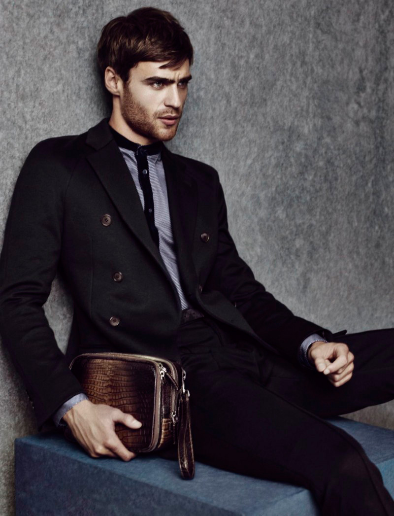First look at Giorgio Armani's Fall/Winter 2014 campaign, featuring model George Alsford photographed bySolve Sundsbo.