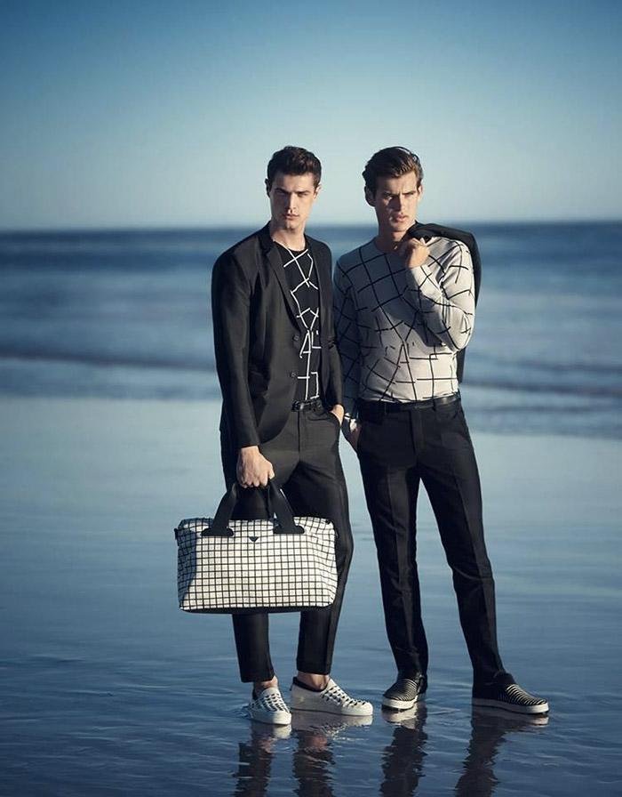 Andy Walters, Jakub Zelman and Matt Trethe front the Spring/Summer 2015 campaign ofEmporio Armani, shot by Boo George.
