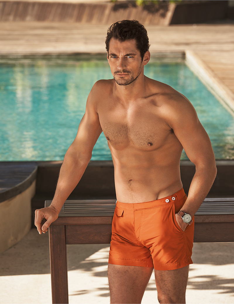 David Gandy models his new range of swimwear for Marks & Spencer Autograph.