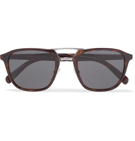 PRADA Square-Frame Tortoiseshell Acetate And Silver-Tone Sunglasses