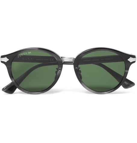 GUCCI Round-Frame Acetate And Titanium Sunglasses
