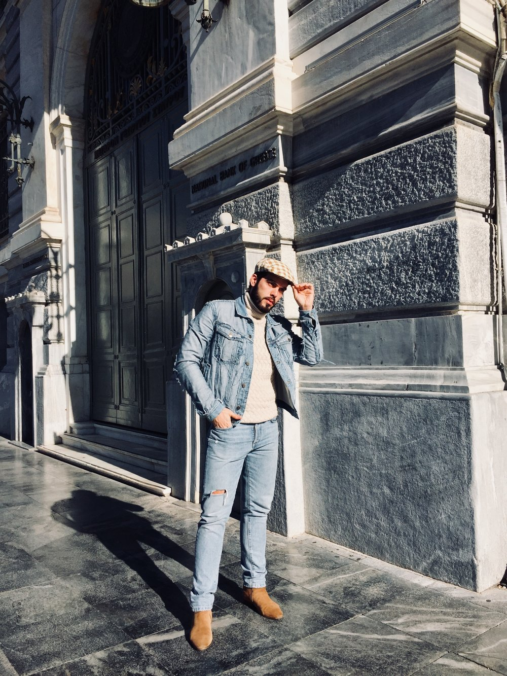 Jean Jacket: Maison Margiela / Jean: Zara / Knitwear: Massimo Dutti / Hat: Vintage / Shoes: River Island
