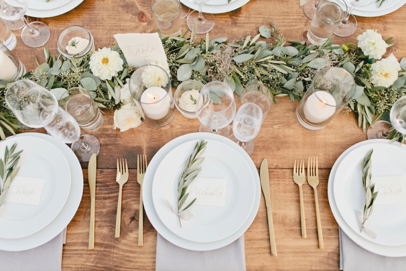 White, Modern Olive Ranch Wedding in San Luis Obispo at Biddle Ranch