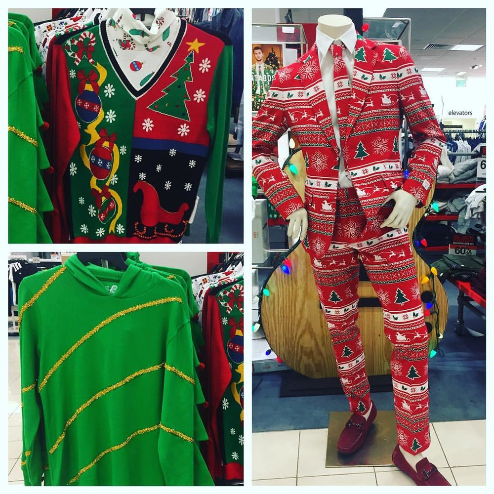 $50 for the tops. $100 for the suit. How much disposable income are we as a society supposed to blow? #fashion #funnyfashion #uglychristmassweater #uglysweater #holidaywear #partyclothes