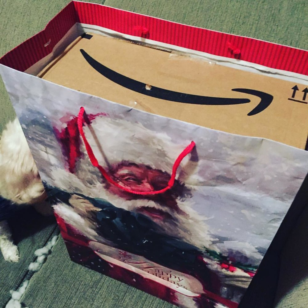 Signs you're running out of holiday steam… you shove the amazon prime box in a gift bag and call it wrapped. #dunzo #holidaycheer #merrychristmas