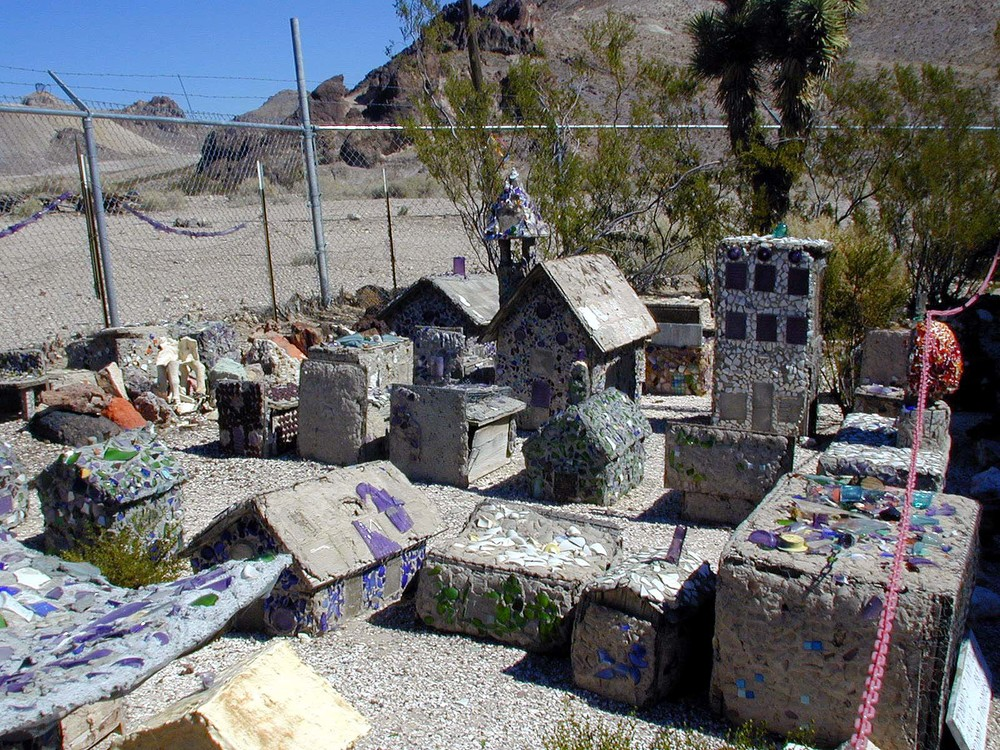 "Glass shard miniature ""town"" on display at the bottle house."