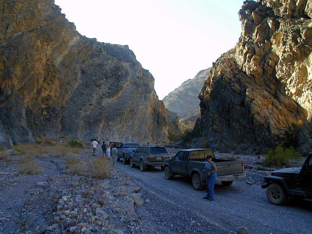 Stopping for a cool break in Titus Canyon