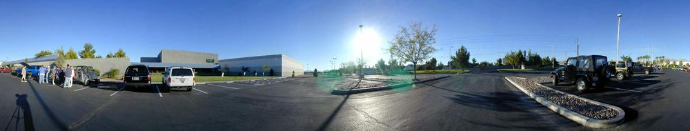 Panorama of Westwood Studios parking lot