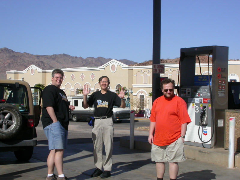 Mike, David, and Steve loitering at the gas station across the street from the Hacienda