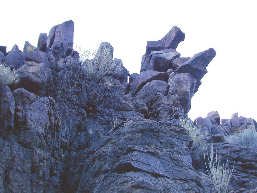 These formations are precariously balanced over our heads. They consist of large, sharp, and probably heavy rocks.