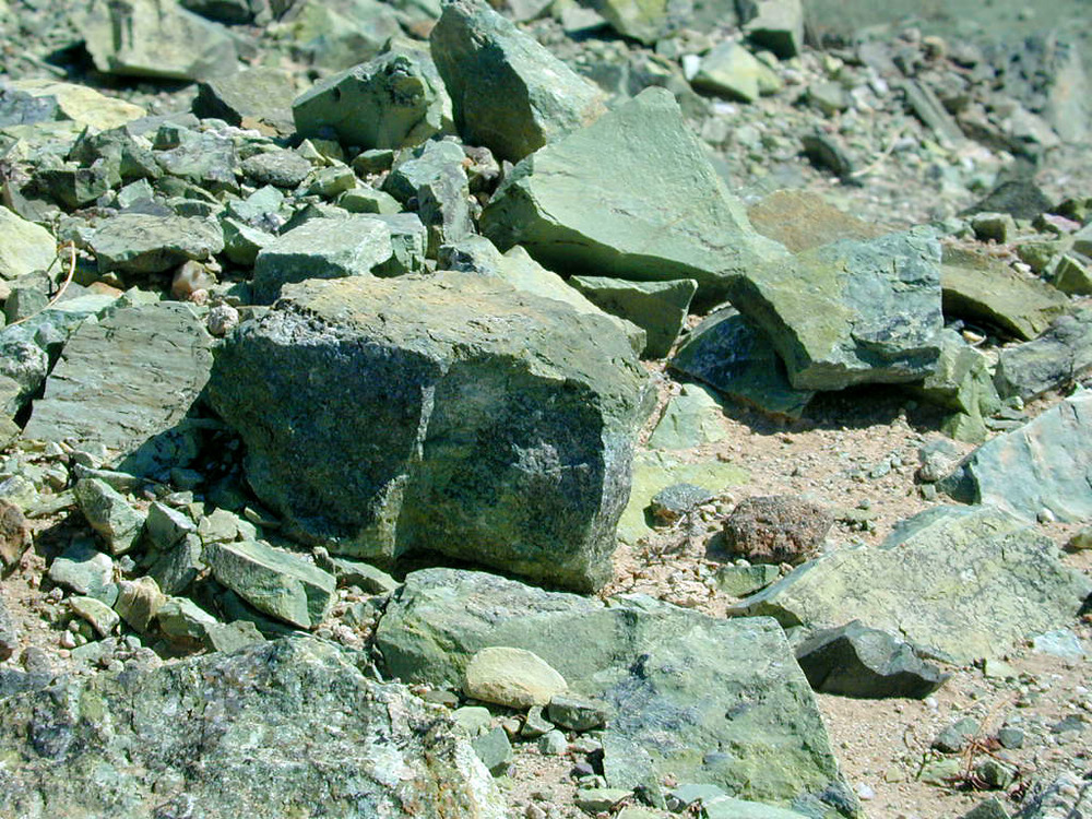 A close-up of the green rocks