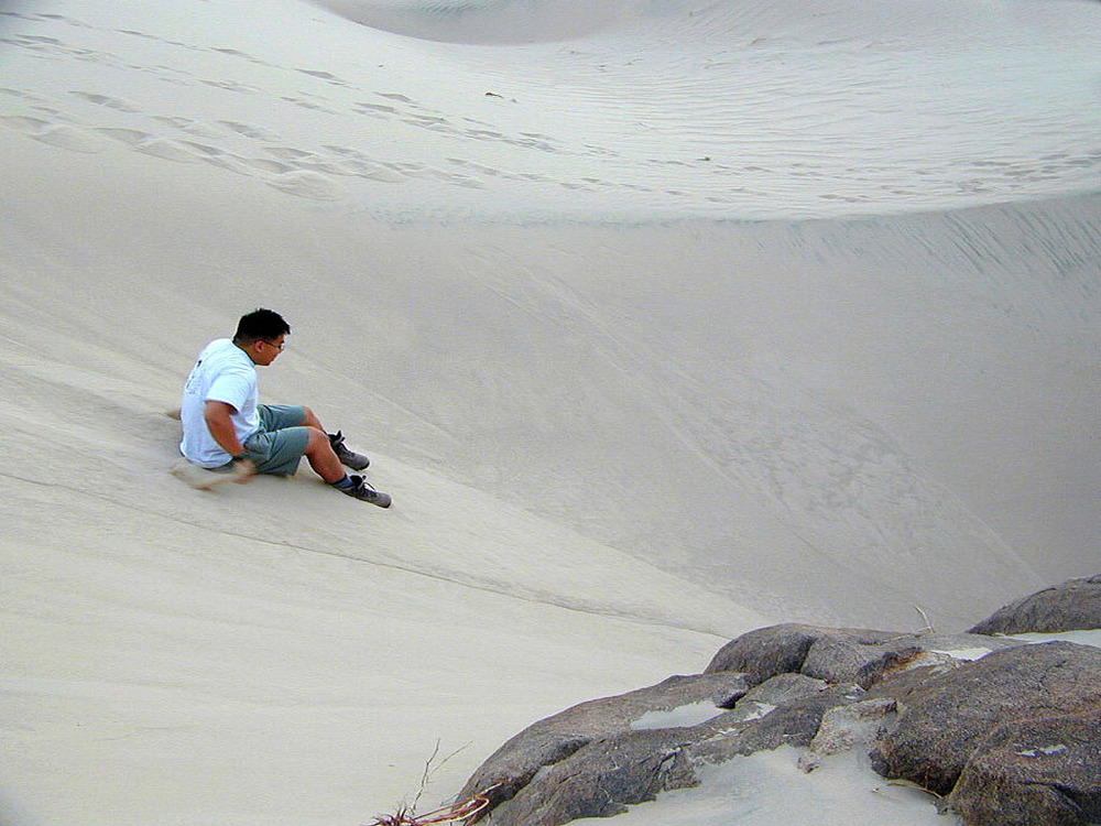 Hector slides down a sand dune.