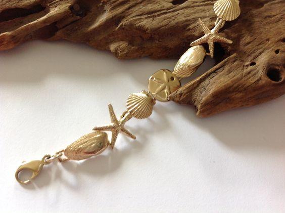 14k Gold Multi Shell Bracelet