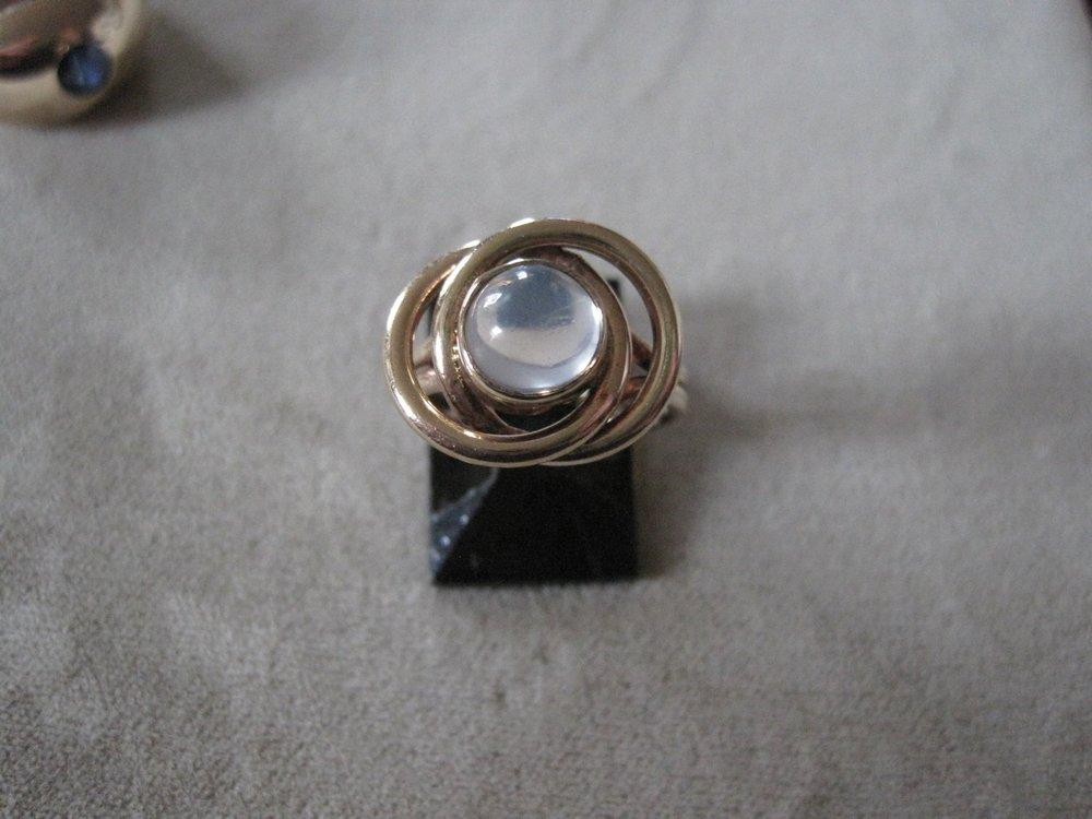 14k Gold Moonstone Knot Ring