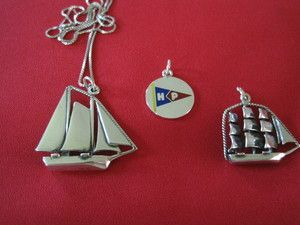 Sterling Silver Handmade Large Schooner, Large Clipper Ship and Hyannis Port Burgee charms