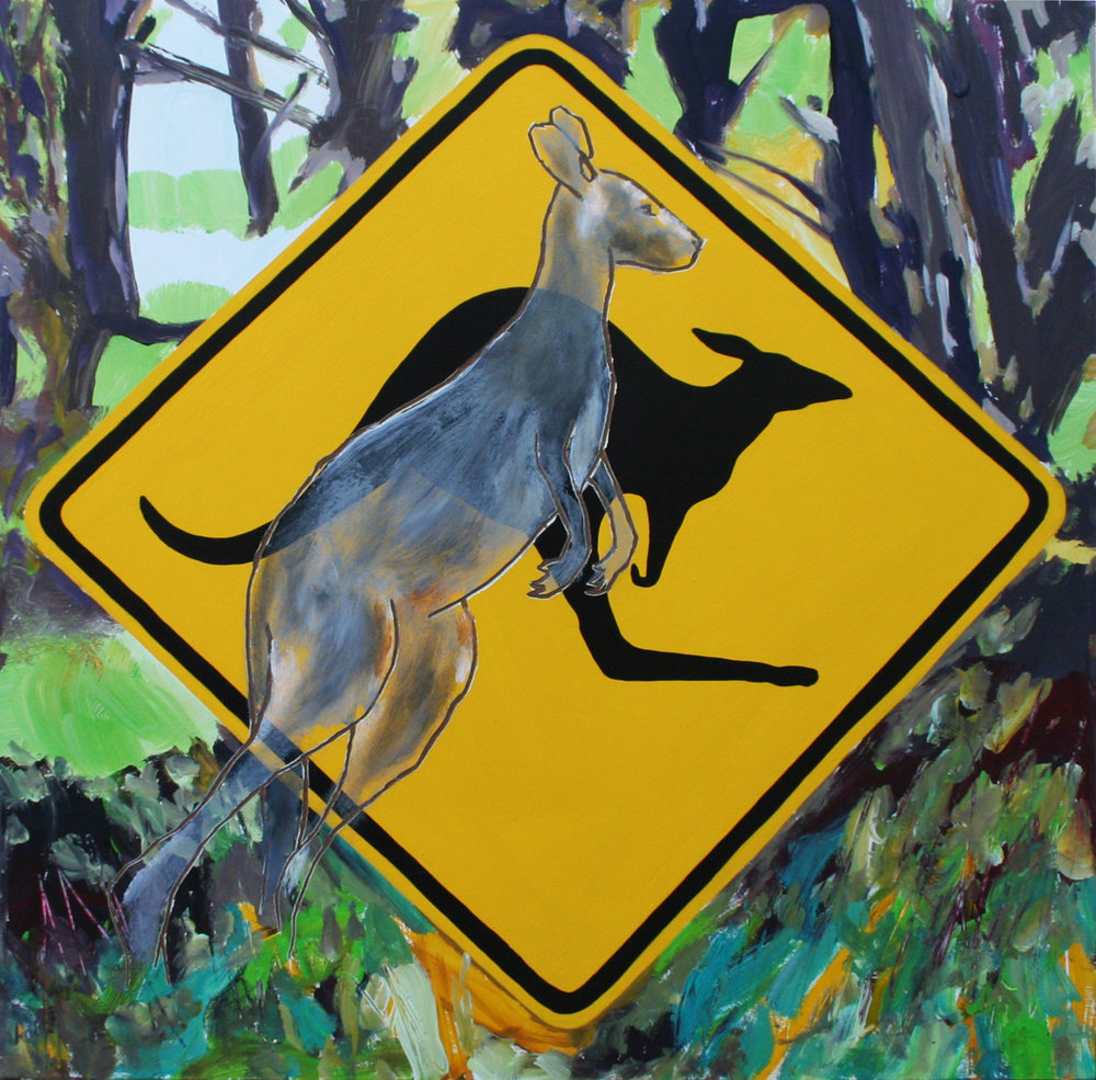 Kangaroo Ahead acrylic polymers on board 60 x60cm