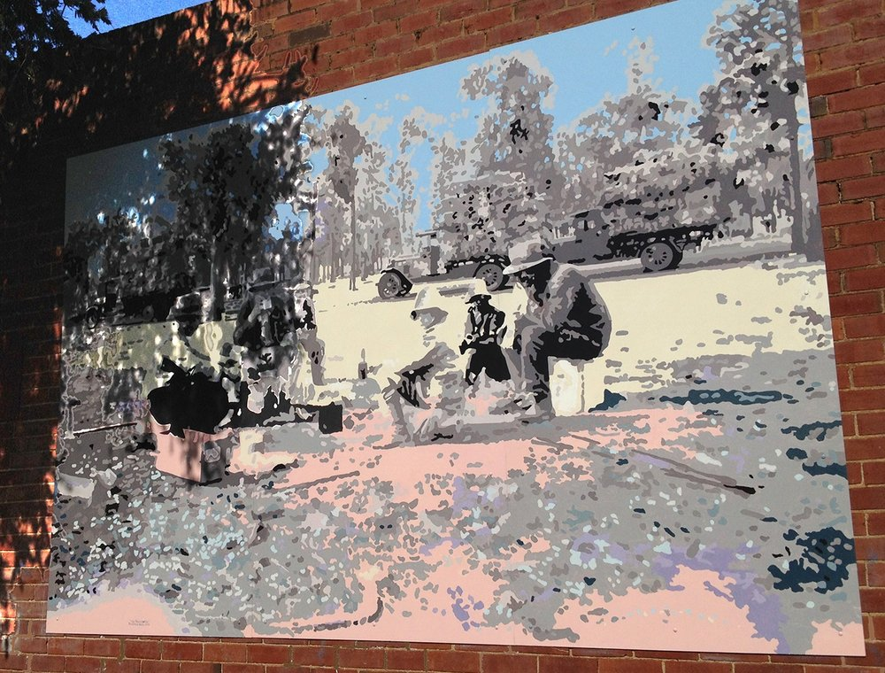 Jack Randell ' The Travellers ' Public Mural Trangie NSW.  Acrylic on aluminium  240x3 60 cm 2018