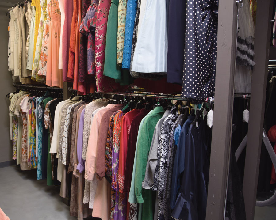 Claudine's collection resembles a perfectly organized Hollywood wardrobe department