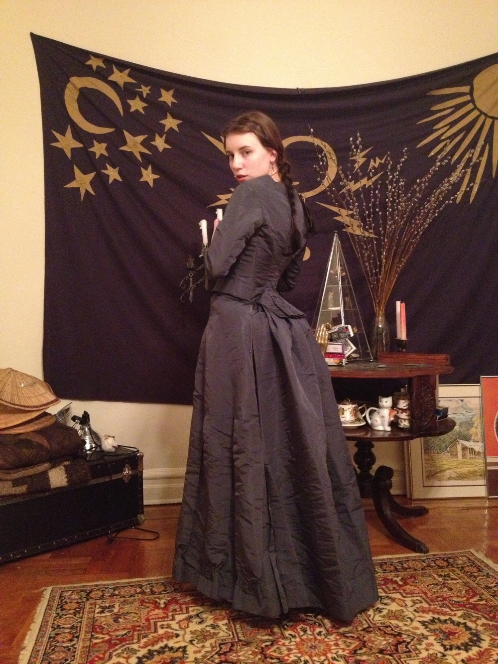 At home wearing an ensemble from the 1880s that I later patterned and reproduced.