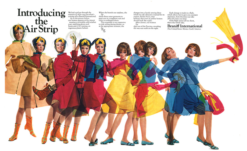 Braniff Airlines advertisement featuring Pucci uniforms in 1965