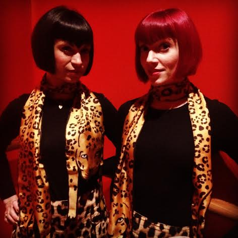 Another Broken Hearts DJ gig, this time with our Cleo Ferin Mercury 'Jaguar' scarves (  cleoferinmercury.co.uk  ). Our look as the Broken Hearts also wouldn't be the same without our matching pointed bobs - for that we have Sassoon Salons to thank! (Sassoon.com)
