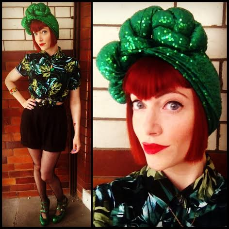 I'm a huge fan of turbans! This incredible green sequin version is made by the amazing designer Alice Edgeley (I think  www.edgeley.au   but maybe double check that!)