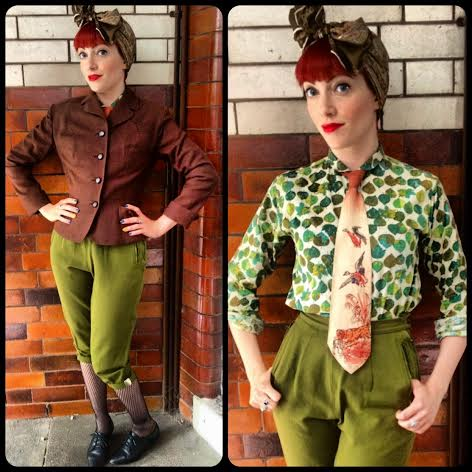 I dressed as a Land Girl to talk about the effects of World War 1 on fashion. My look is more reminiscent of the Land Girls of WW2, complete with 1940s jacket and tie, but I hope to have captured some of their spirit! Most items from Beyond Retro.