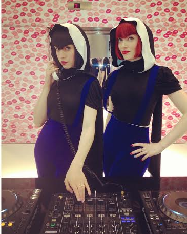 DJing at Selfridges in custom made cocktail trousers and hoods by Frida Larsen (  fridalarsen.myshopify.com  ).