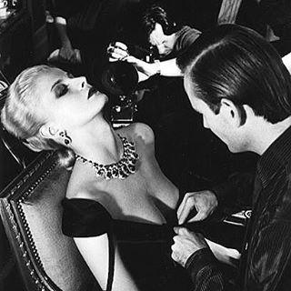 #Givenchy dress, #Bulgari jewels, French Vogue, 1980, photo by #HelmutNewton. #fashionphotographer #fashionhistory #vintagefashion