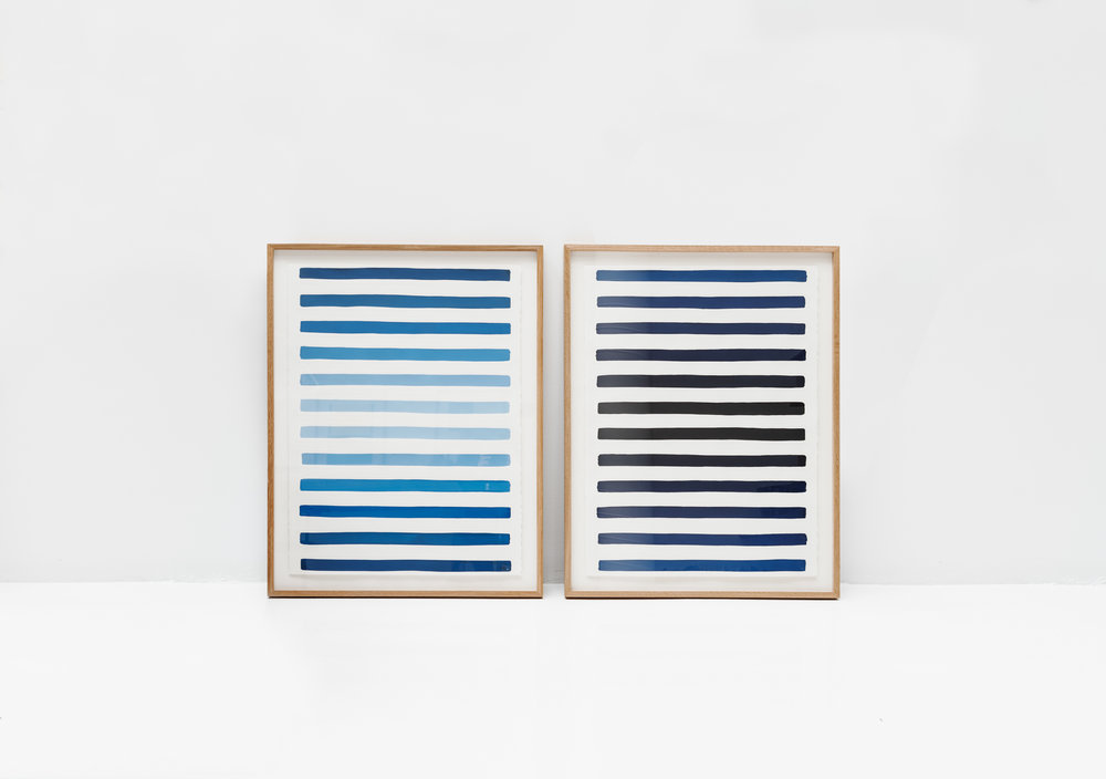 A day ,  2018 Gouache on embossed paper 56 x 76 cm each