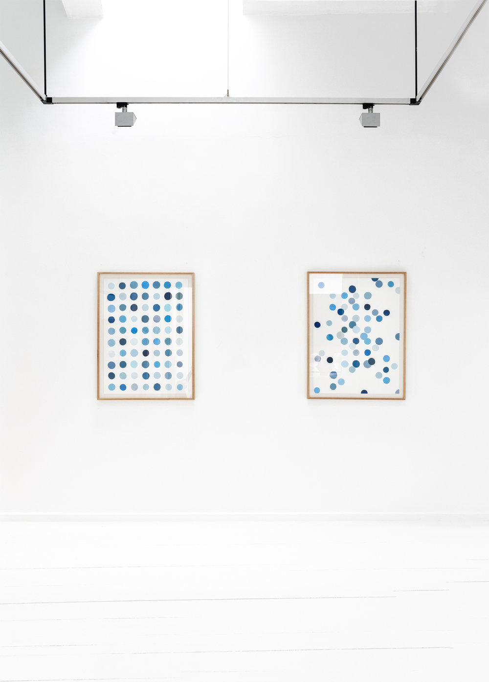 Low and high entropy ,  2018 Gouache on embossed paper 70 x 100 cm each