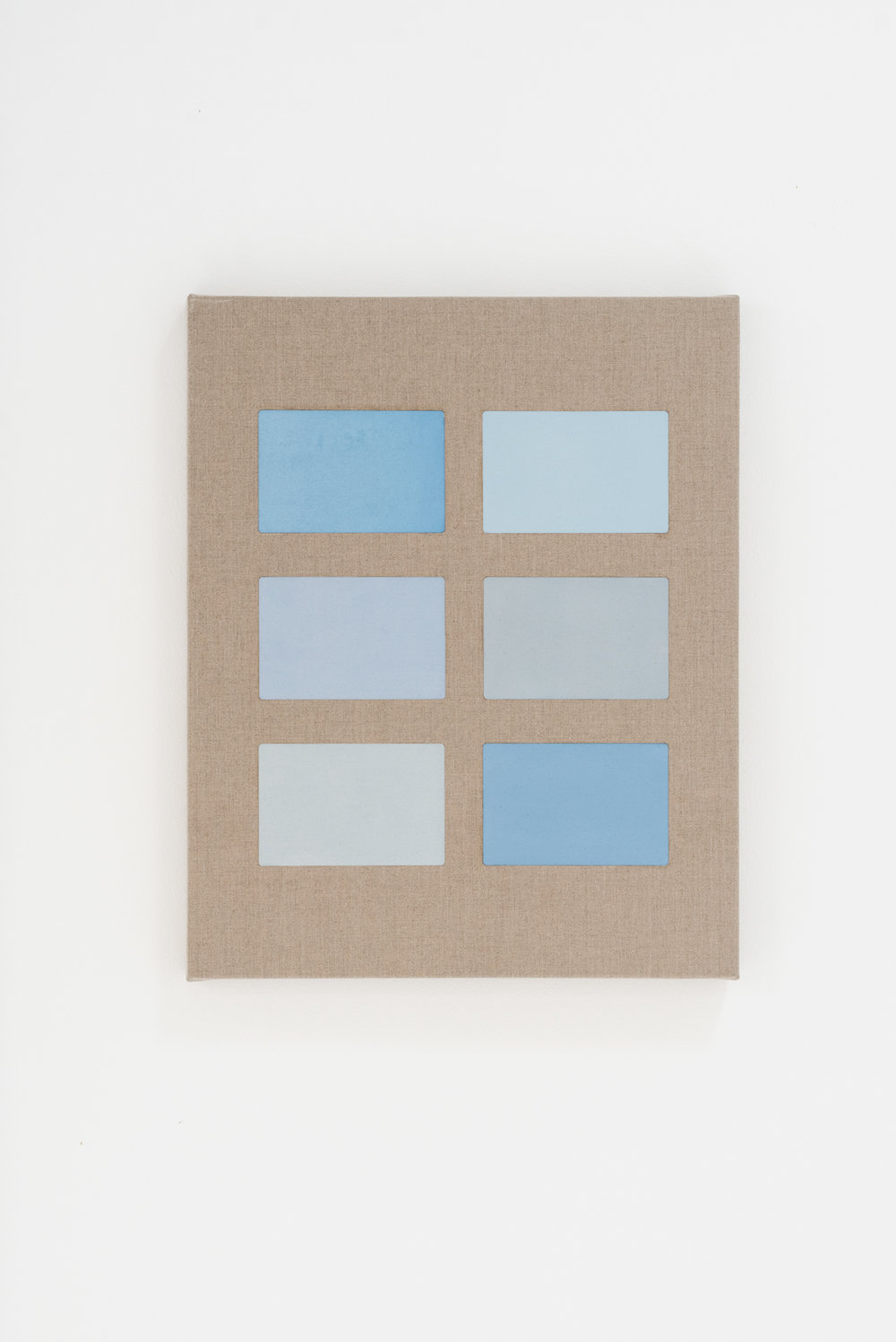Feeling blue ,  2018 Oil and perforated linen 60 x 74 cm each