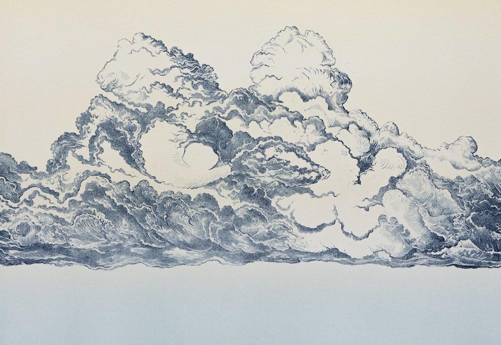 """Nuage  I, lithographie issue d'une série de 5 """" Nuages """", réalisée avec l'atelier  Michael Woolworth , 65 x 50 cm, 14 exemplaires, 2017."""