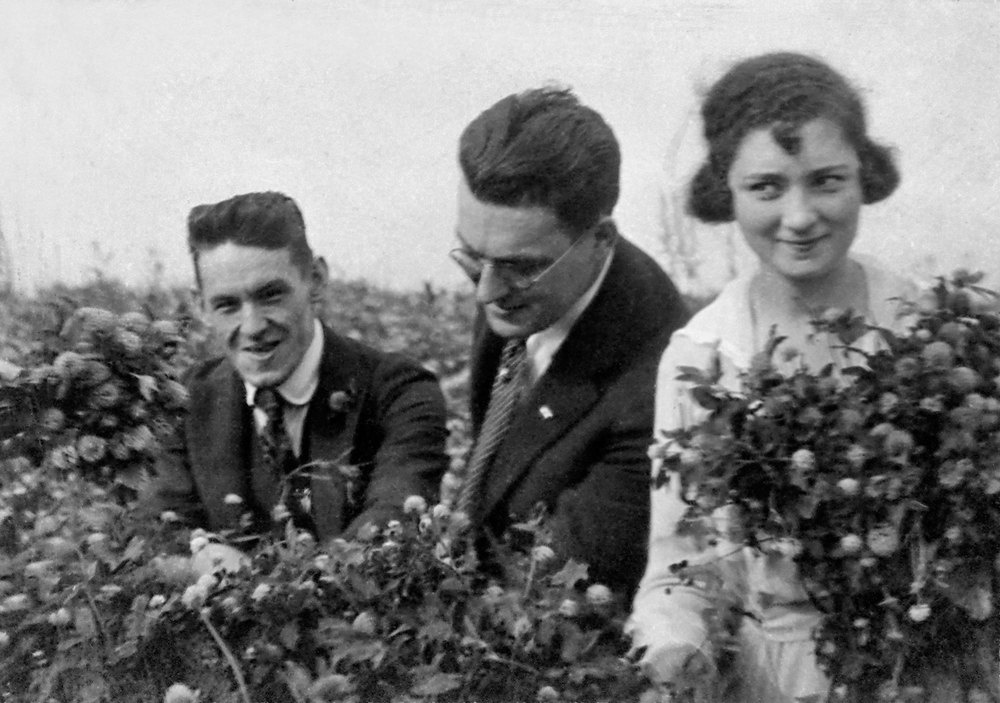 Eli (center) and his sister Lillian (and an unidentified friend)