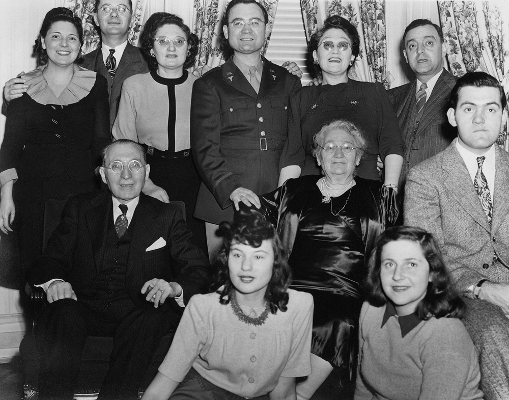 Adalman family during WWII: Top: Sylvia, Sol, Hannah, Philip, Rose, Ab. Middle: Hyman, Dora, Melvin.  Front: Lillian, Anne