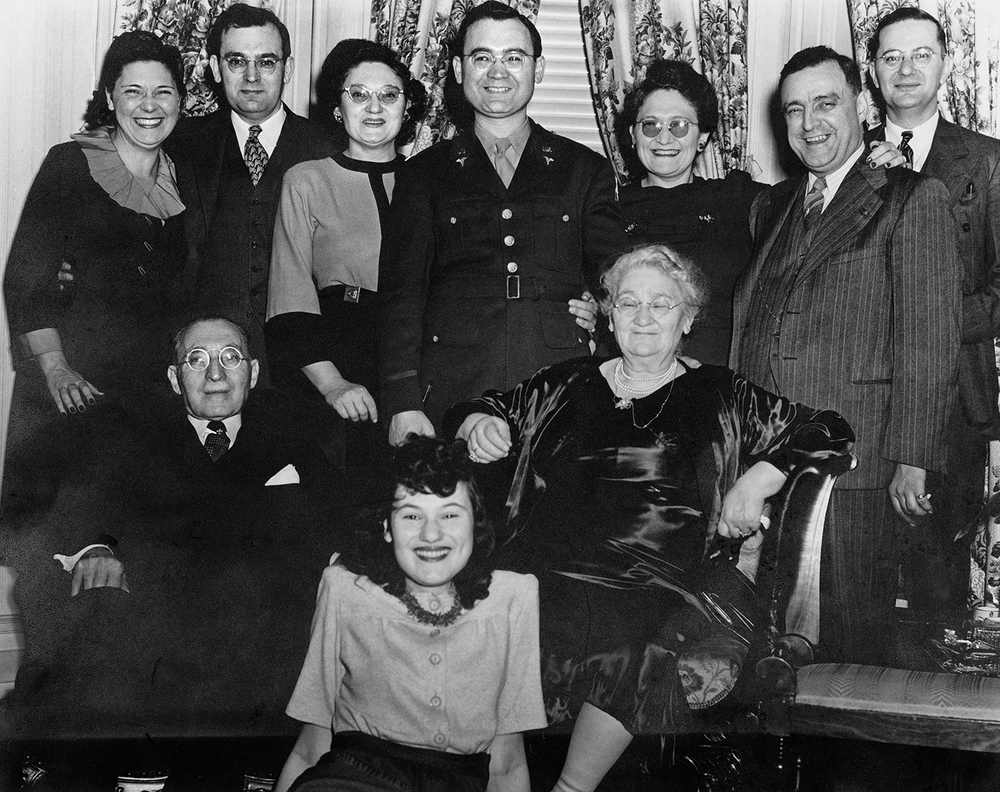 Adalman family during WWII: Top: Sylvia, Eli, Hannah, Philip, Rose, Ab, Sol. Middle: Hyman and Dora.  Front: Lillian