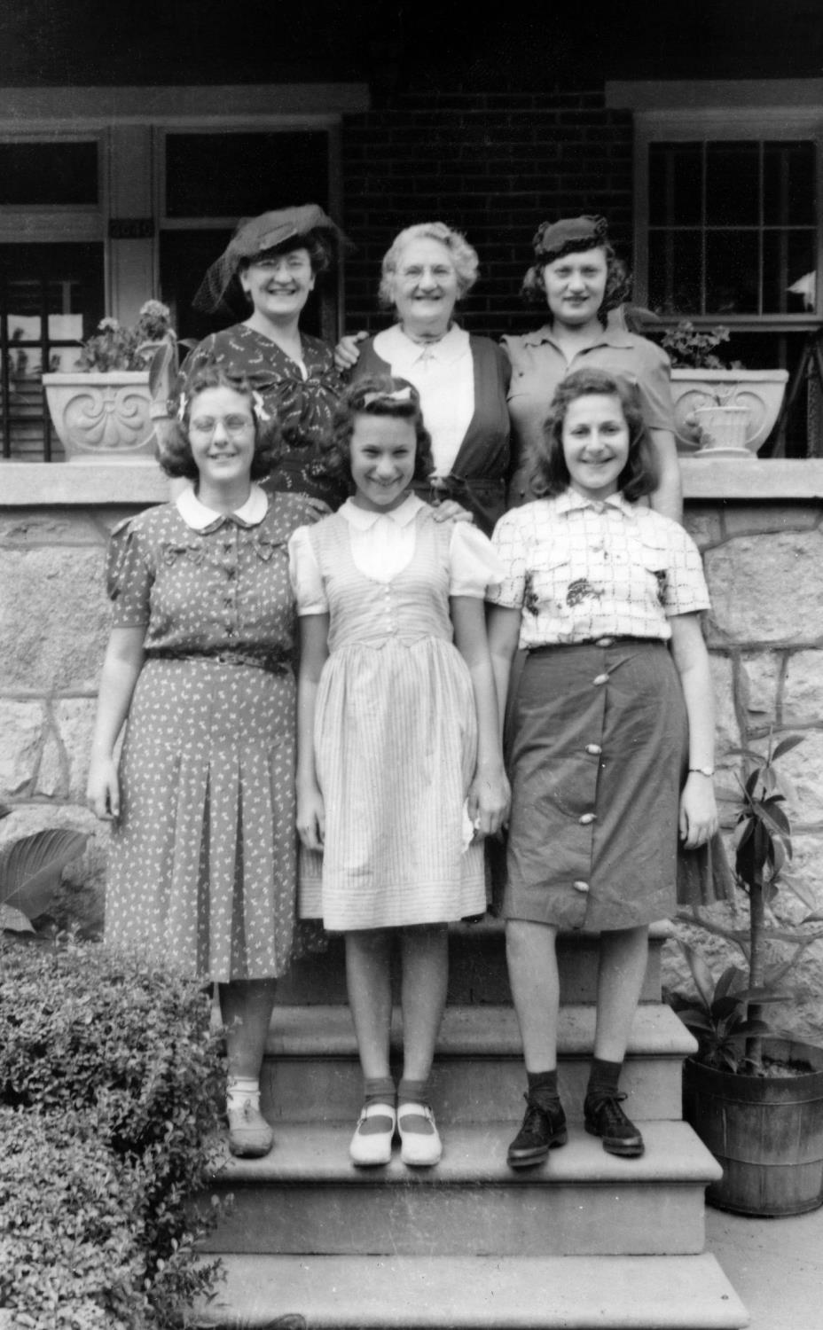 Adalman Family before WWII in Baltimore: Back: Rose Finestone, Dora Adalman, Hannah Shapiro.  Front: Lillian Finestone, Lillian Shapiro, Anne Adalman