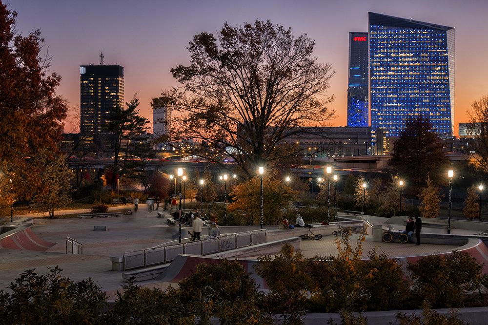 Philadelphia: November sunset at the skate board park.