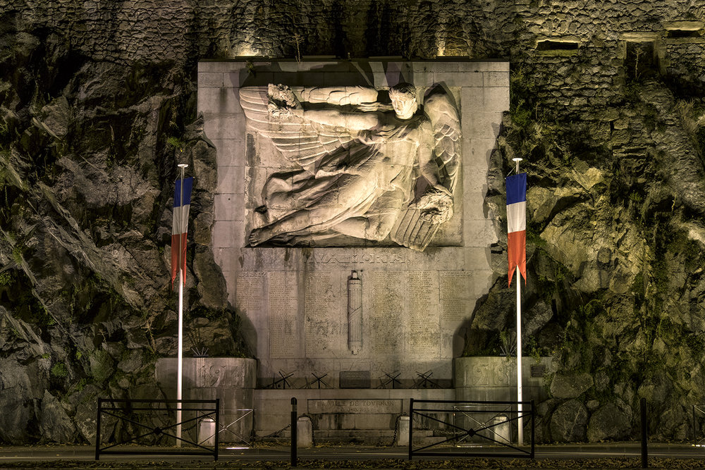WWII Memorial, Tournon, France, October Evening