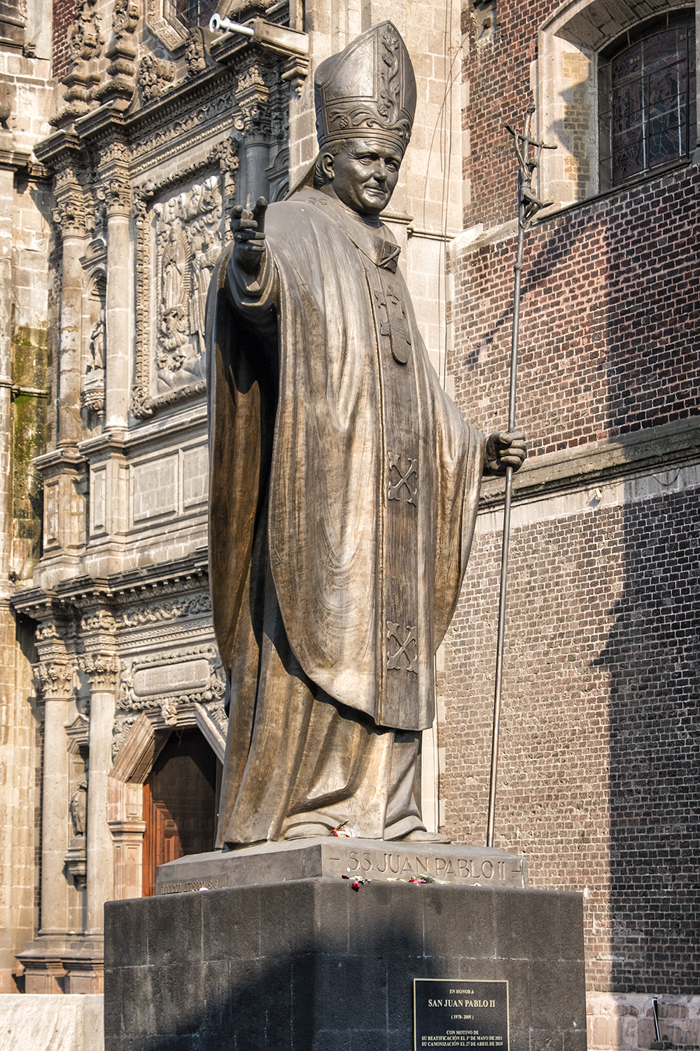 Statue of Pope John Paul II at the Basilica of Our Lady of Guadalupe, Mexico City